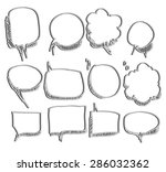 set of speech bubble hand drawn ... | Shutterstock .eps vector #286032362