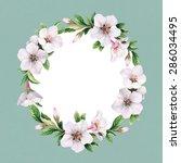watercolor floral wreath.... | Shutterstock . vector #286034495