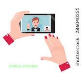female hand holding a black...   Shutterstock .eps vector #286040225