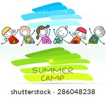 summer camp poster with happy... | Shutterstock .eps vector #286048238