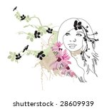 illustration of a woman's face | Shutterstock .eps vector #28609939