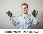happy young man in winning pose ... | Shutterstock . vector #286100462
