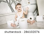 toddler ripping up toilet paper ...   Shutterstock . vector #286102076