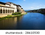 The view of Arno from ponte vecchio in Florence, Italy - stock photo