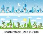flat vector forest illustration ...   Shutterstock .eps vector #286110188