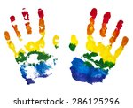 colorful rainbow children hand...