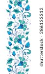 Vector blue green swirly flowers vertical border seamless pattern background