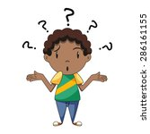 confused child  shrugging... | Shutterstock .eps vector #286161155