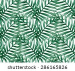 watercolor tropical palm leaves ... | Shutterstock .eps vector #286165826