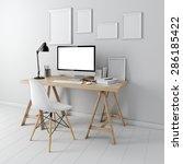 3d modern computer workplace   Shutterstock . vector #286185422