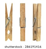 set of three wooden cloth pegs... | Shutterstock . vector #286191416