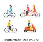 cyclists riding bike set... | Shutterstock . vector #286193372