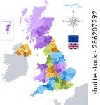 Постер, плакат: Vector UK administrative map