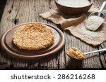 crispy rice with topping... | Shutterstock . vector #286216268