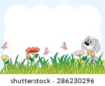 puppy and butterfly in the... | Shutterstock .eps vector #286230296