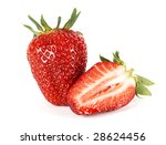 half and whole strawberries | Shutterstock . vector #28624456