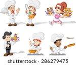 cartoon chefs cooking  waitress ... | Shutterstock .eps vector #286279475