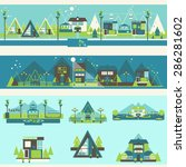 resort hotel and camping... | Shutterstock .eps vector #286281602
