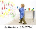 a young artist boy ready to put ... | Shutterstock . vector #28628716