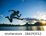 silhouette of athlete jumping... | Shutterstock . vector #286293512
