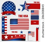 collection of american flags ... | Shutterstock .eps vector #286308845