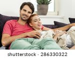 young couple resting on the... | Shutterstock . vector #286330322