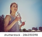 girl is engaged in sports while ... | Shutterstock . vector #286350398