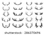 deer antlers. set of various... | Shutterstock .eps vector #286370696