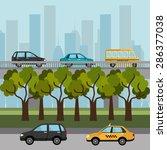 urban design over cityscape... | Shutterstock .eps vector #286377038