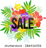 watercolor tropical flowers... | Shutterstock . vector #286416356