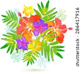 bright tropical flowers summer... | Shutterstock . vector #286417916