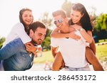 young couples having fun on the ... | Shutterstock . vector #286453172
