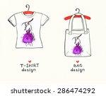 t shirt and bag design.woman... | Shutterstock . vector #286474292