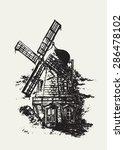 Old Dutch Windmill. Pencil...