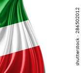 italy flag of silk and white... | Shutterstock . vector #286502012