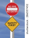 modified road signs on safety  | Shutterstock . vector #286557452