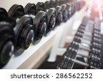 sports dumbbells in modern... | Shutterstock . vector #286562252