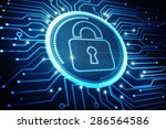 safety concept  closed padlock... | Shutterstock . vector #286564586