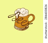 mug of beer with foam that says ... | Shutterstock .eps vector #286603826