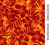 red and orange tropical flowers ... | Shutterstock .eps vector #286613216