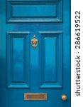 Blue Door Knocker And Letterbo...