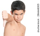 shirtless hispanic boy doing a... | Shutterstock . vector #286668305