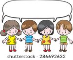 kids hold hand and speak with... | Shutterstock .eps vector #286692632