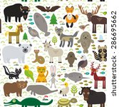 seamless pattern bison bat... | Shutterstock .eps vector #286695662