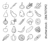 set of linear hand drawn fruits ... | Shutterstock .eps vector #286707092