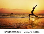 Silhouette Of Young Woman Doing ...