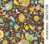 bird and flower ornament... | Shutterstock .eps vector #286717736