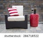 comfortable dark wicker patio... | Shutterstock . vector #286718522