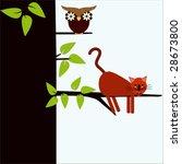 owl and cat   Shutterstock .eps vector #28673800