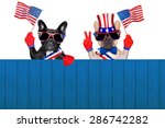 french bulldog row of dogs... | Shutterstock . vector #286742282